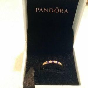 Nwt. Shine 18k 925ale blue striped cz ring